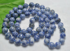 Natural 10mm Blue Plessite Round Gemstone Beads Necklaces 30'' No Clasp