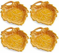 Martha Stewart Collection Harvest Leaf Appetizer Plates, Caramel Brown Set of 4