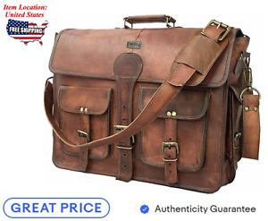 """18"""" Vintage Handmade Men Leather Messenger Bag Laptop Briefcase Satchel For Mens"""
