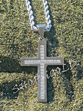 """MEN'S 316L STAINLESS STEEL """"JESUS CROSS"""" PENDANT WITH  24""""ROPE CHAIN SET"""