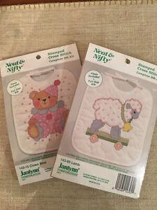 Janlynn Stamped Cross Stitch Baby Bib Kit - 2 Kits