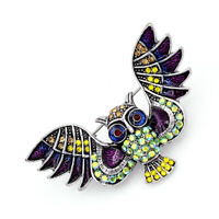 Betsey Johnson Enamel Crystal Owl Charm Women's Animal Brooch Pin Jewelry Gift