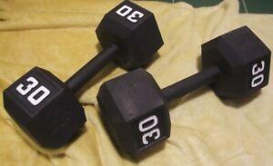 Pair of Iron/Metal Hexagonal 30lb Dumbbell Set Weights. Bodybuilding. Strength