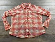 Wrangler Womens Xxl Pink Plaid Pearl Snap Western Flannel Shirt Long Sleeve