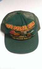 Vintage Red Pecker Run Usa Mesh Trucker Hat Cap Rare Nos Rooster *Light Damage*