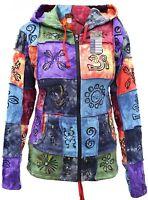 Tie Dye Patch Cotton Ladies Pixie Long Hood Hippie Boho Light Non Lined Jacket