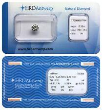 0.53 ct K P1 NATURAL DIAMOND BRILLIANT NIL EXC VG EXC HRD DIAMANT SEALED