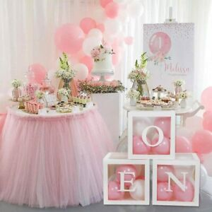 3pcs ONE Transparent Baby Shower Boxes Balloon 1st Boy Girl Birthday Party Decor