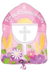 "1st / First Holy Communion Pink Girl Party Decs 18"" X 14"" Shaped Foil Balloon"