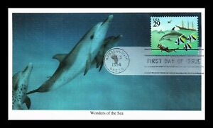 DR JIM STAMPS US DOLPHINS WONDERS OF SEA UNSEALED FDC COVER MYSTIC