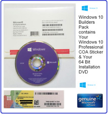 Microsoft Windows 10 Pro Professional 64-Bit System Builder Pack ( DVD + COA )