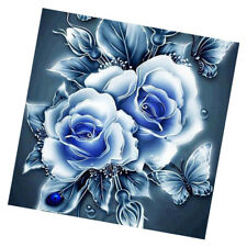 DIY Diamond Painting Embroidery Blue Flower Rhinestone Paint By Number Kits