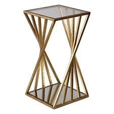 Gold Angle Geometric Square Accent Table | Open Pedestal Column Modern