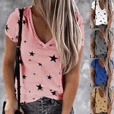 Women Summer Short Sleeve V Neck T Shirt Pentagram print Blouse Casual Loose Top