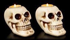 Totenkopf Teelichthalter - 2er Set - Gothic Kerzenhalter Deko Totenschädel