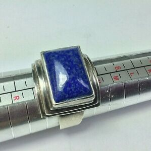 Sterling Silver Size 7.5 Lapis Blue Stone Ring Nepal PTI