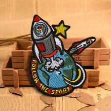 Rocket Space Embroidery Sew On Iron On Patch Badge Fabric Applique Craft Sticker