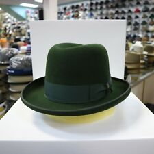 BORSALINO GREEN FUR FELT HOMBURG DRESS HAT *READ BELOW 4 SIZE