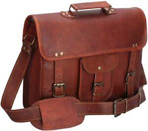 Vintage Brown Leather Messenger Genuine Bag Shoulder Laptop Bag Briefcase office