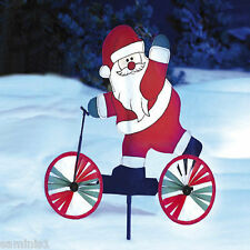 "NEW-OUTDOOR SANTA ON BIKE-WATCH THE WHEELS SPIN-TOTAL HEIGHT=42CM (11.5"")"