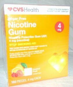 CVS Health Sugar Free Nicotine Gum 4 mg Coated Fruit ~ 100 Pieces ~ 5/2020