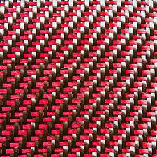 Tessuto in fibra di carbonio tessuto ibrido fibra aramidica Rosso 2x2 DUAL Twill [90cm x 30cm]