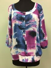 ANNE KLEIN BLOUSE TOP SILK SHEER FLOWY 1/2 BUTTON FRONT WOMEN'S SIZE XL
