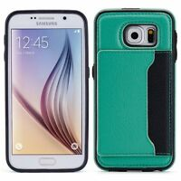 SAMSUNG GALAXY S6 - LEATHER CASE GREEN WALLET COVER CREDIT CARD ID SLOT STAND