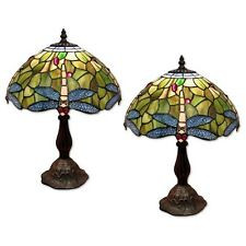 Tiffany Style Table Lamp 46cm Dragonfly Design Glass Shade 30cm Bulb
