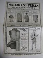Vintage Butler Brothers U.S. Army Goods Men's Clothing Items Advertising Flyer