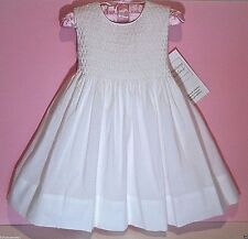 NWT Strasburg Boutique 6 Month Classic Hand Smocked White Cotton Party Dress NEW