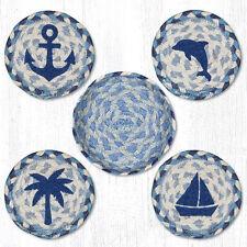 COASTAL Beach Nautical 100% Natural Braided Jute Coaster Set of 4 w/ Basket