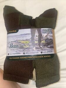 G.H. Bass & Co. Men's Outdoor Hiking Performance Socks, Size 10-13, 6 Pairs NEW