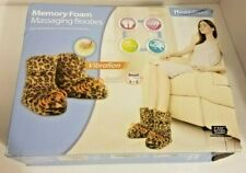 HEALTH TOUCH MEMORY FOAM Womens Vibrating MASSAGING BOOTIES Cheetah Print Sz 6-8