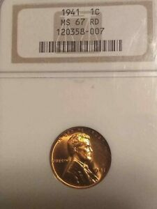 1941 NGC GRADED MS67 RED LINCOLN WHEAT CENT NGC 67 RED GEM BEAUTY BUY IT NOW!