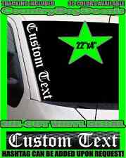 CUSTOM TEXT Old English VERTICAL Windshield Vinyl Side Decal Sticker Car Truck