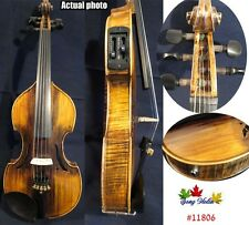 Baroque style solid wood 5 strings electric violin 4/4 +Acoustic violin
