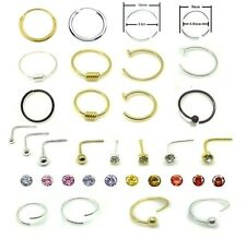 Sterling Silver L Shape Nose Stud Nose Ring Hoop Tragus Piercing Body Jewellery