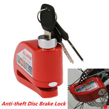 Red Security Anti Thief Motorcycle Scooter Bicycle Wheel Disc Brake Alarm Lock