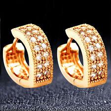 18K Rose Gold Plated Womens Heart CZ Zircon Round/Hoop/Loop/Circle Earrings.14mm