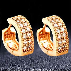 18K Rose Gold Plated Womens Heart CZ Zircon Round Hoop Loop Circle Earrings.14mm