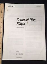 Sony CDP-C69ES CD Player Original Owners Manual 22 pages cdpc69es A16