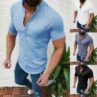 Men Casual Blouse Cotton Linen T-shirt Loose Tops V-Neck Short Sleeve Tee Shirt