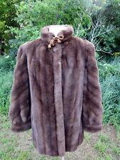 Vintage Tissavel French Faux Brown Mink Jacket Coat Size Medium