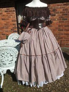 Victorian/American Civil War Gingham Skirt Blouse Belt & Bag in Brown Plus Size
