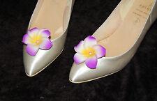 ROCKABILLY PIN UP WEDDING BRIDAL PURPLE FLOWER FRANGIPANI SHOE CLIPS SCFP07