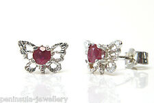 9ct White Gold Ruby filigree Butterfly Stud earrings Gift Boxed Studs Made in UK