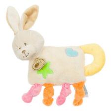 Doudou Peluche Baby'nat plat lapin rabbit bunny lièvre Bubble Gum bleu grelot 9