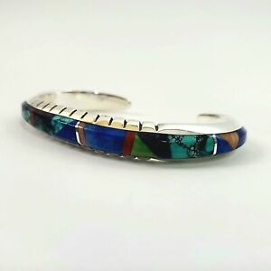 Lynol Yellowhorse Channel Inlay Bracelet Signed Sterling Silver