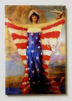 "Vintage Lady of Liberty Patriotic American Flag  2"" x 3"" Fridge MAGNET"